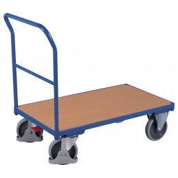 Wózek platformowy 1 poręcz 88x50cm sw-500.100 400kg koła fi160 pełna guma łożyska kulkowe