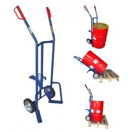 Wózek 2 kołowy do beczek 2K SPC4 400kg koła fi 250 pełna guma felga stalowa łożyska wałeczkowe