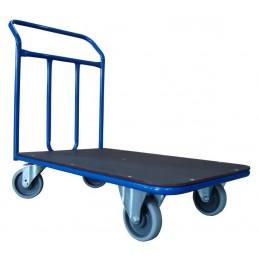 Wózek platformowy 1 poręcz 100x70cm 300kg koła fi125 pełna guma łożyska kulkowe